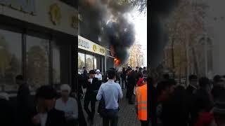 Взрыв и пожар в Бишкеке