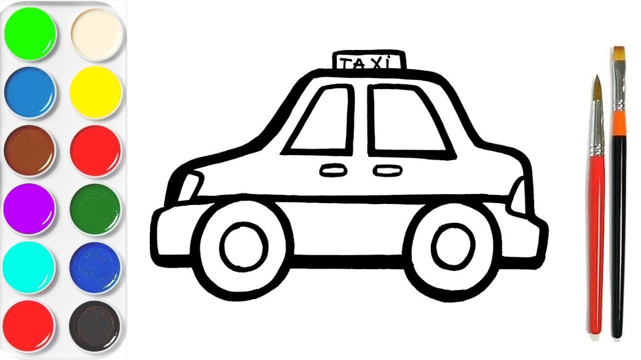 Colorier Taxi APPRENDRE À DESSINER vidéo éducative & Planète coloriage