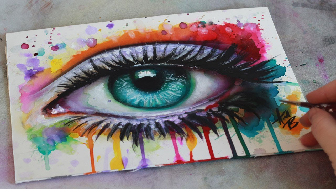 SPEED PAINTING Mixed Media Surreal Abstract Eye Watercolor ...  SPEED PAINTING ...