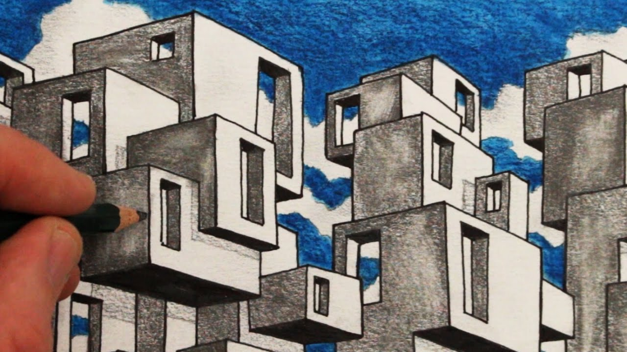 How To Draw Habitat 67 Draw Architecture Youtube