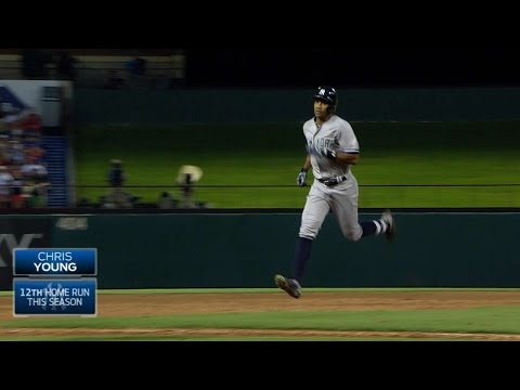Young belts a grand slam to left field