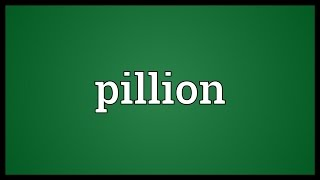 Pillion Meaning
