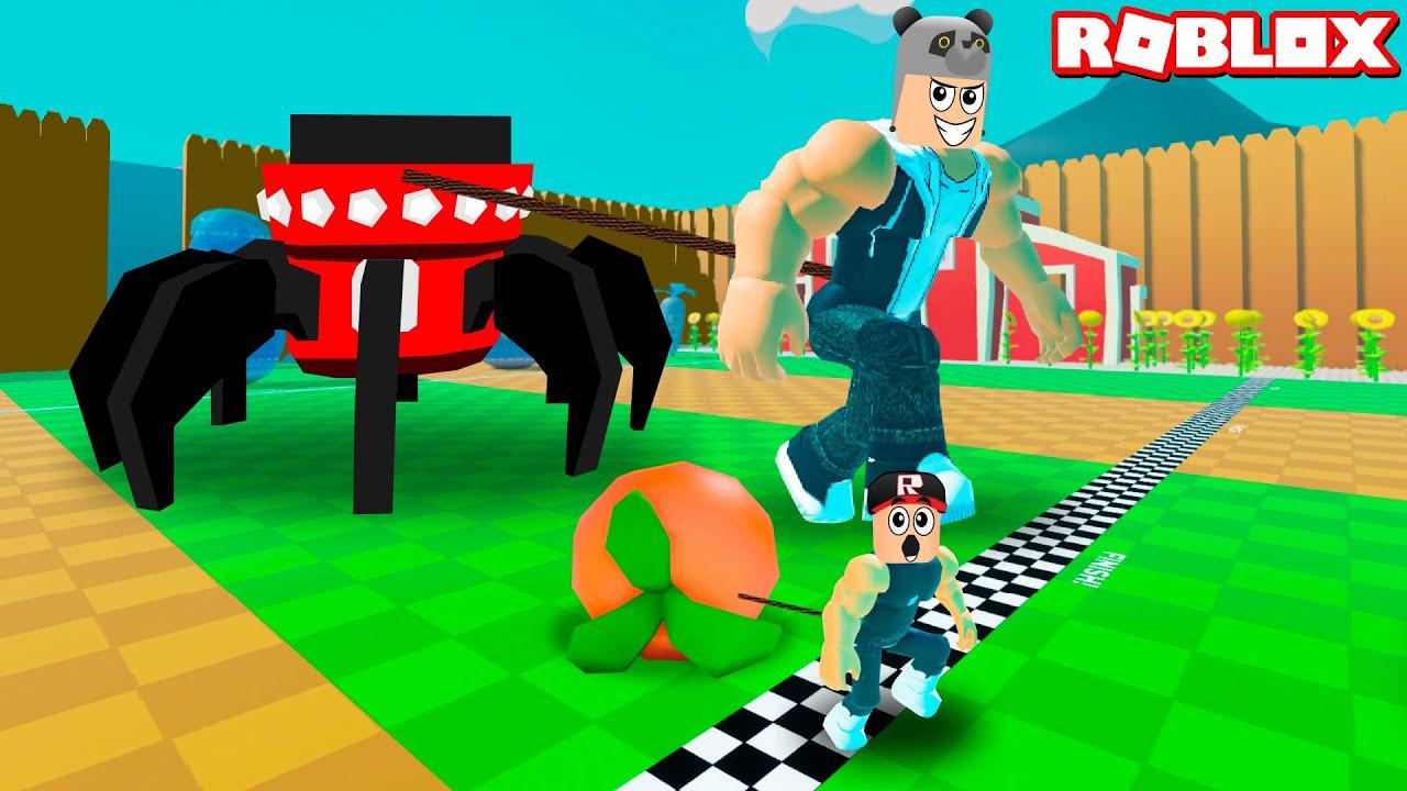 Örümcek Robotu Çekiyorum!! En Güçlü Oldum - Panda ile Roblox Strongman Simulator