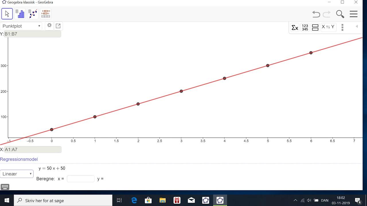 Lineær regression (Geogebra)