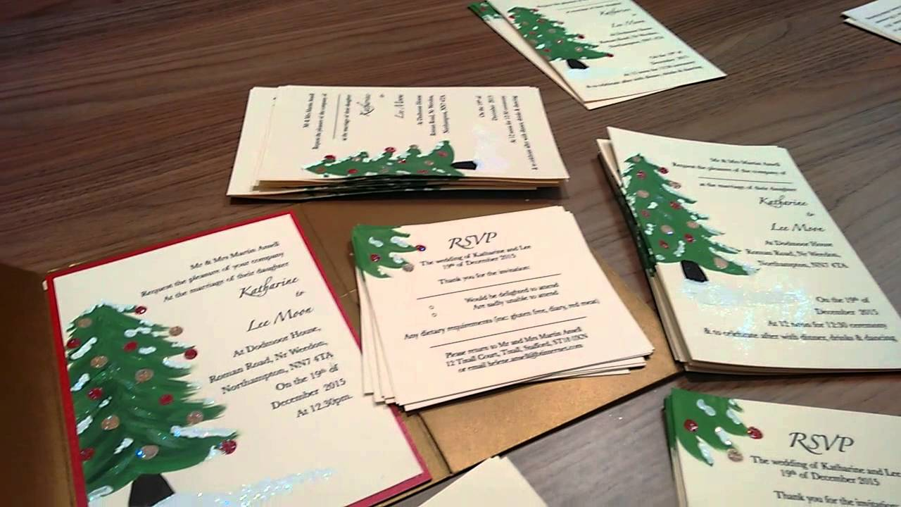 Christmas Tree Wedding Invitations - hand painted by Today She ...