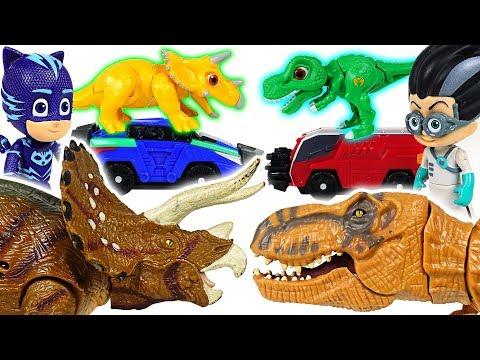 PJ Masks's Dino Mecard capture car transforming giant dinosaur battle! - DuDuPopTOY