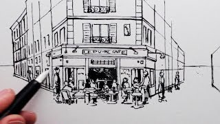 How to Draw a French Cafe: Step by Step