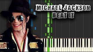 Michael Jackson - Beat It - [Piano Tutorial] (Synthesia) (Download MIDI + PDF Scores)