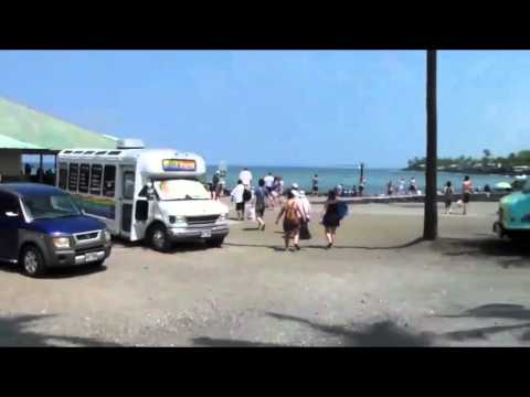 Kona tender port area and ride on Kona trolley to Kahaluu Beach