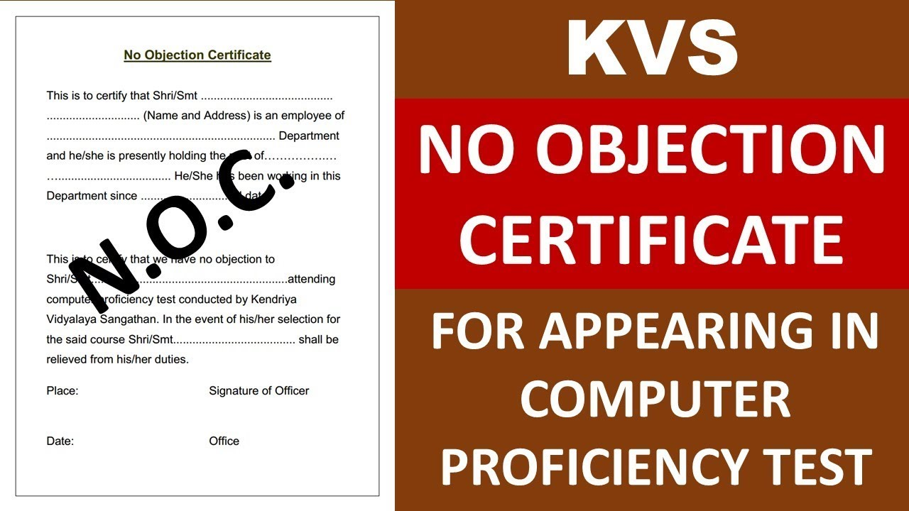no objection certificate format