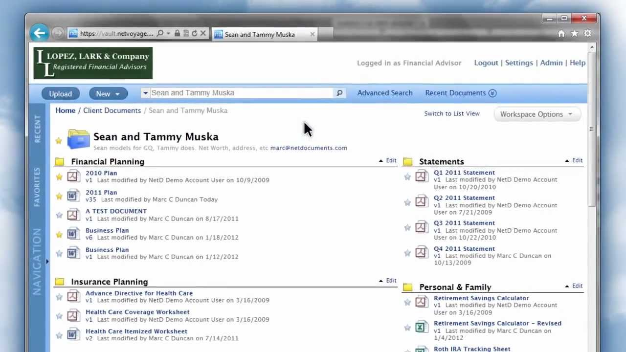Netdocuments quick demo for financial services advisors for Netdocuments search
