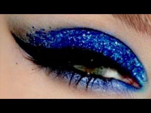 Blue glitter eyeshadow tutorial/ full makeup tutorial