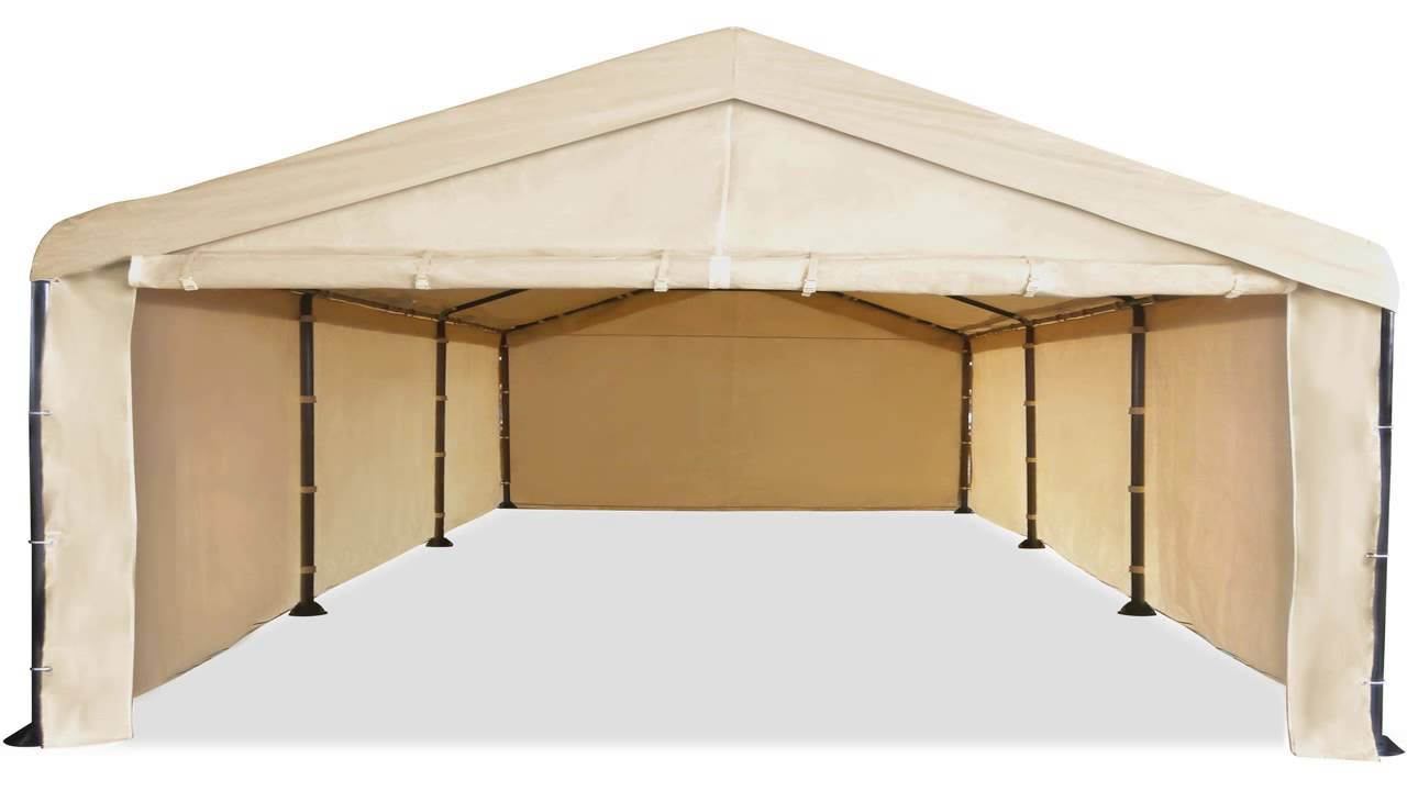 Caravan Canopy 10 X 20 Domain Carport Garage with Sidewall Enclosure Kit - YouTube  sc 1 st  YouTube & Caravan Canopy 10 X 20 Domain Carport Garage with Sidewall ...