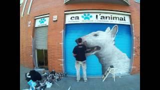 Graffiti Perro Bull Terrier En Persiana De Granollers 2015