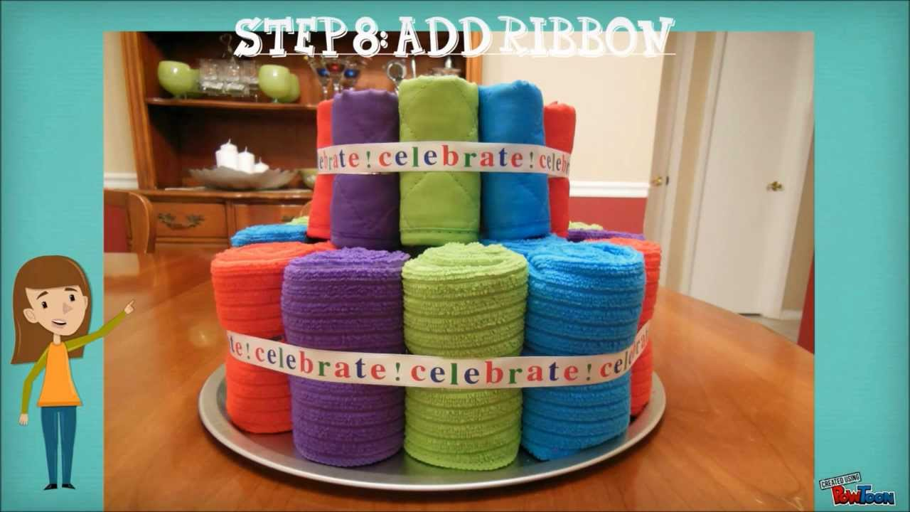 Towel Cake Housewarming Gift Tutorial - YouTube