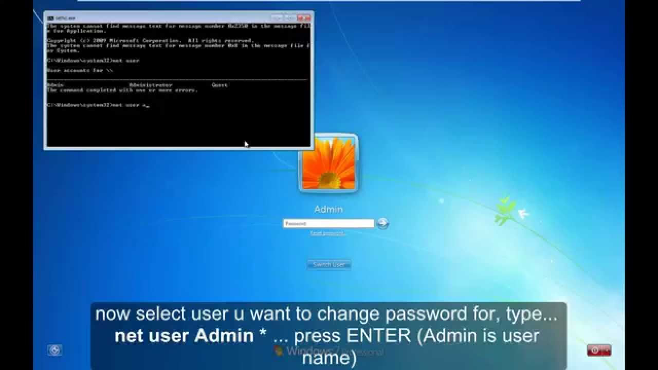 how to hack administrator password windows 7 without software