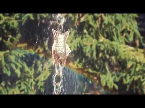 487P-8 Fish Rain Chain - Polished Copper