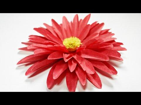 Dahlia paper flower diy making tutorial. Paper flowers easy for children, for kids,for beginners