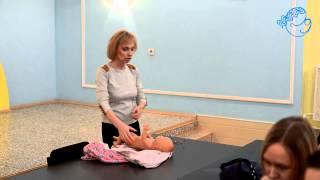 Плавание для грудничков Опускание малыша в воду  Основная поддержка на животике