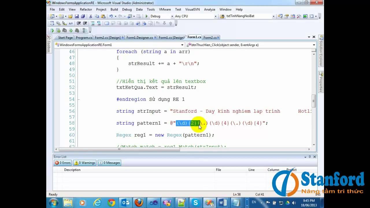 Hướng dẫn sử dụng biểu thức chính quy trong C# by Stanford dạy kinh nghiệm lập trình