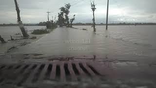 Jalan dan sawah tergenang. Jalan jembatan sari - masaran. 29-11-2017 15.00