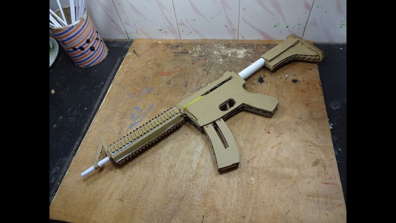 how to make a m4 that shoots with magazine cardboard gun youtube