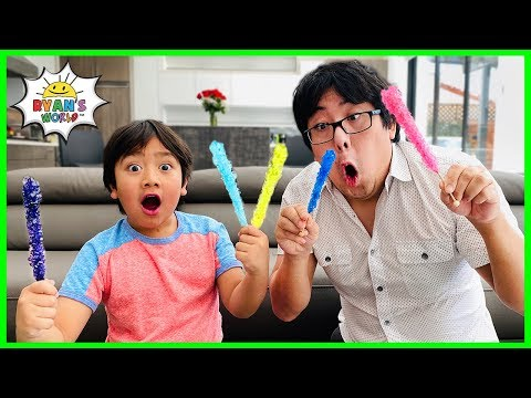 How To Make Rock Candy DIY Science Experiment with Ryan's World!!!! - Видео онлайн