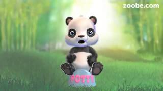 Baby panda using potty first time