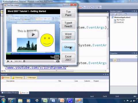 Visual Basic 2010 Express Tutorial 8 - Embedding And Playing YouTube Videos