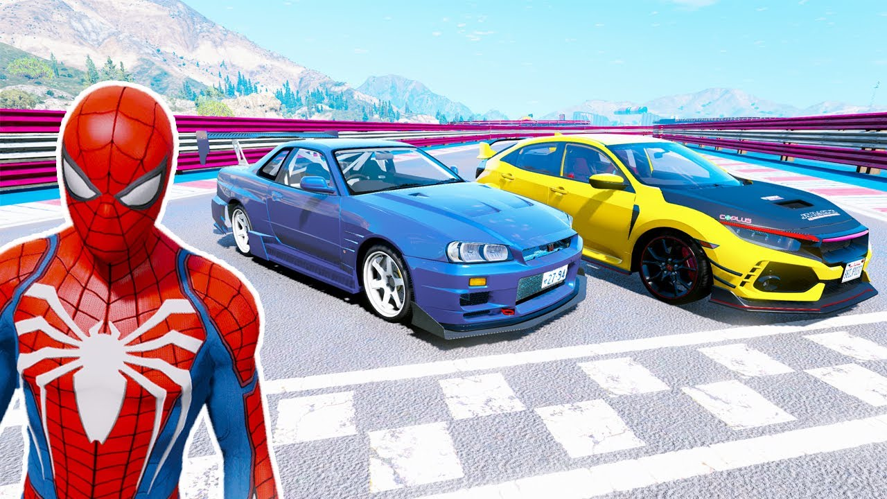 صورة فيديو : سيارات السباق مع سبايدرمان وتوي فريدي Racing cars with Spiderman and Toi Freddy