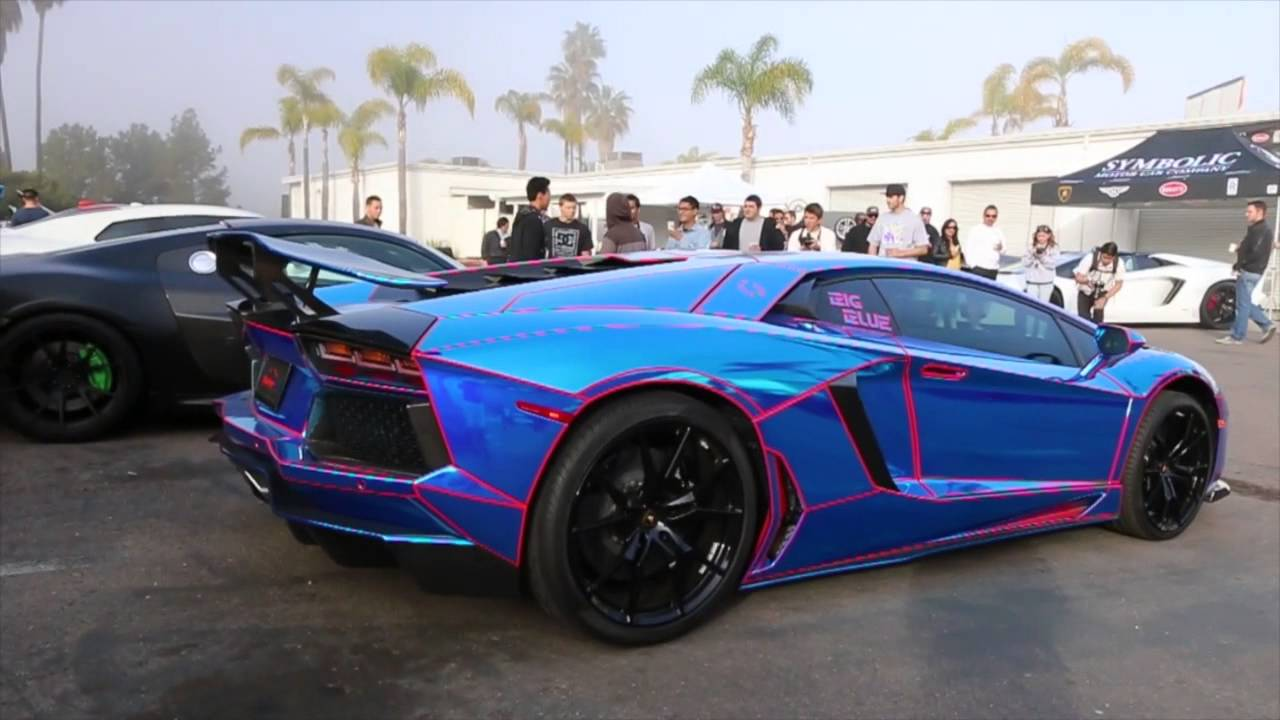 chrome blue tron lamborghini aventador youtube. Black Bedroom Furniture Sets. Home Design Ideas