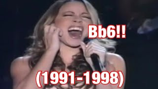 """Mariah carey emotions """"high"""" whistle note attempts in the 90's"""