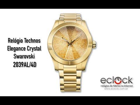 f910655035394 Relógio Technos Feminino Elegance Crystal Swarovski 2039AL 4D - Eclock