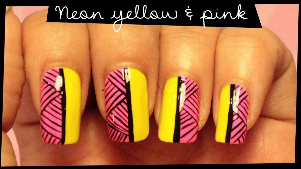 Neon Yellow & Pink nail art - YouTube
