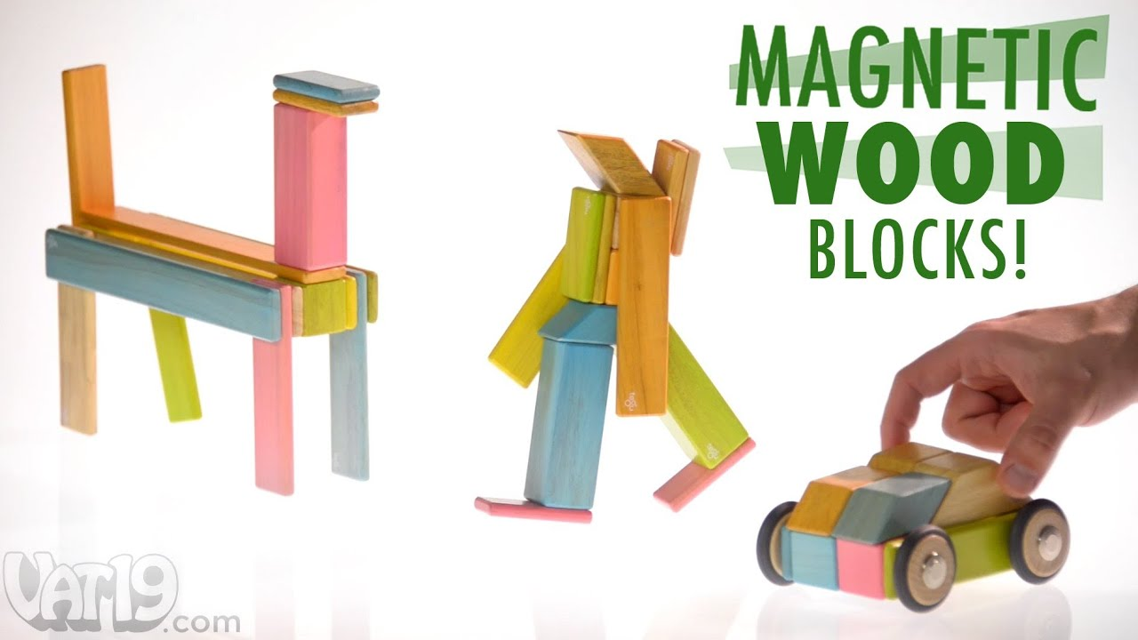 Magnetic Wood Blocks by Tegu - YouTube