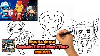 HOW TO DRAW CAPTAIN / IRON MAN/ THOR | VẼ TOP 3 SIÊU ANH HÙNG MARVEL | DRAW SO EASY