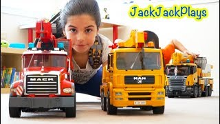 Pretend Play Fishing with Bruder Crane Trucks Compilation