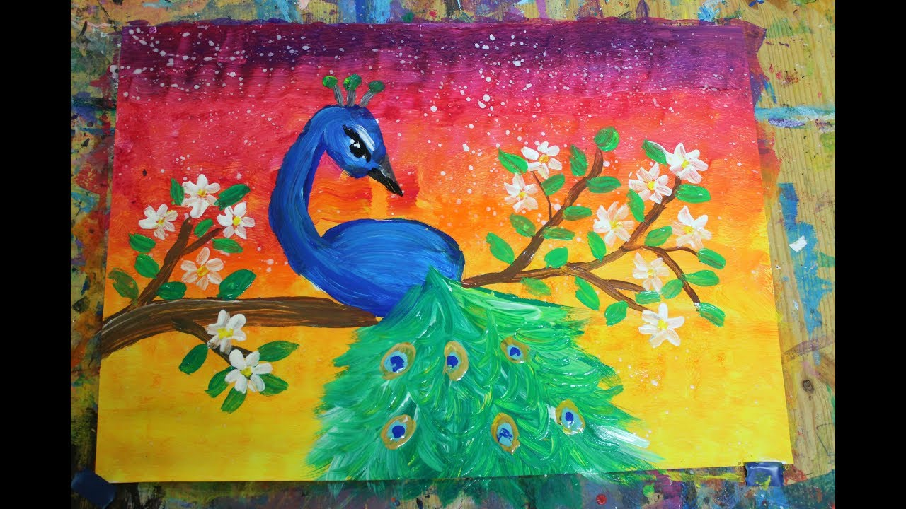 Easy Peacock Painting For Kids And Beginners رسم طاؤوس للصغار والمبتدئين