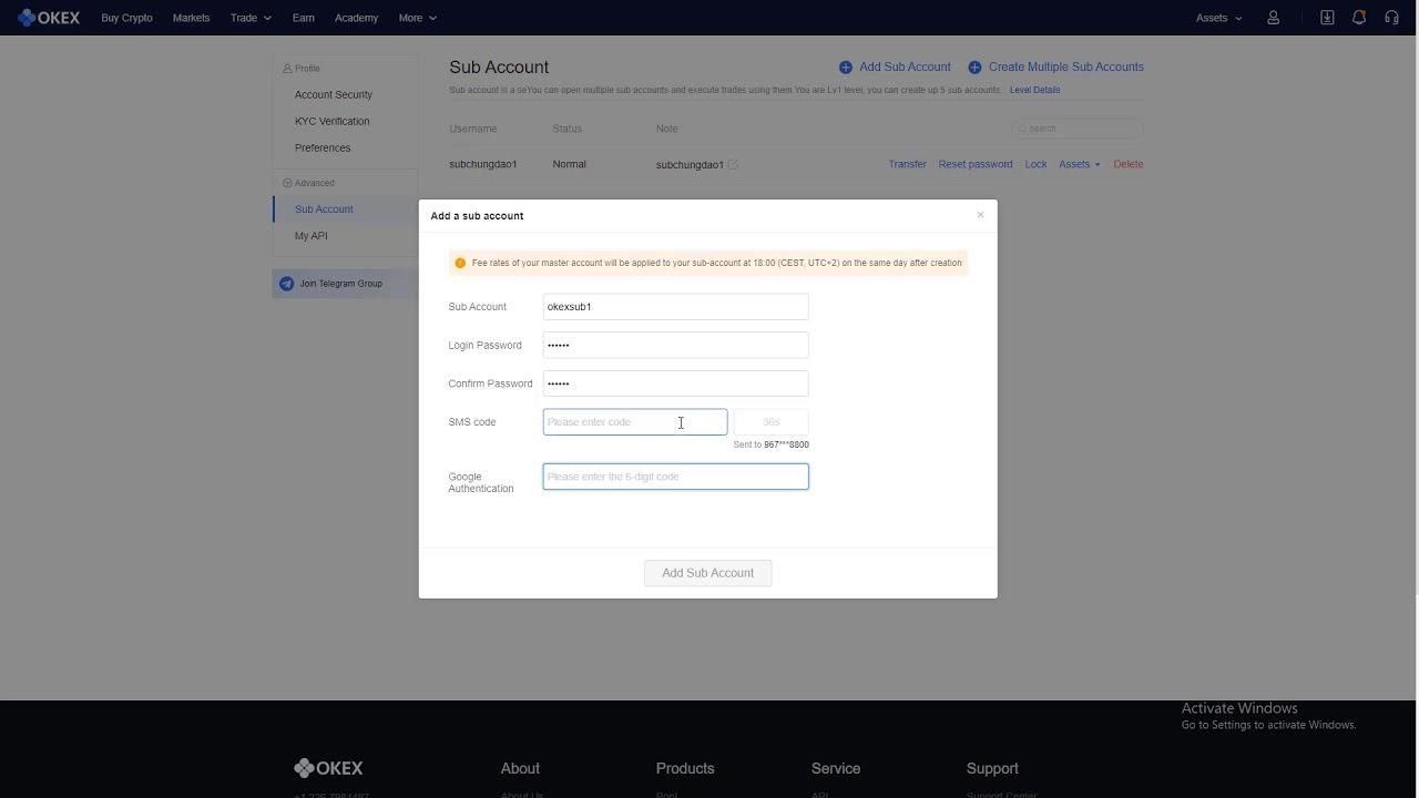 Cách tạo Sub Account trên OKEx 9