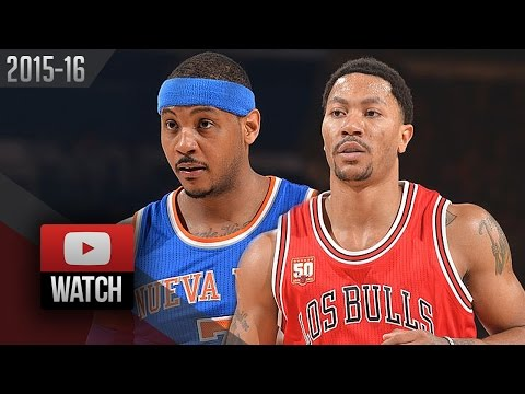 Derrick Rose vs Carmelo Anthony Battle Highlights (2016.03.24) Knicks vs Bulls - CRAZY!