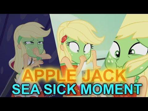 Equestria Girls SpringBreakDown-AppleJack Sea Sick Moments