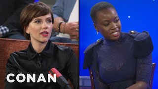 danai gurira scarlett johansson on women kicking ass in the avengers universe conan on tbs