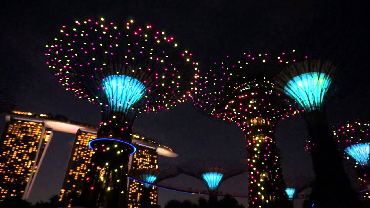 Garden By The Bay Night gardensthe bay : marina bay sands, singapore - youtube