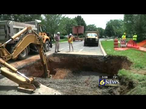 Ferguson Township crews work to fill up sinkhole