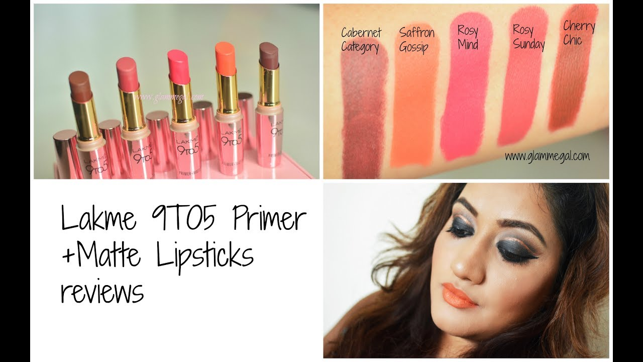 a9843dd32c8 Lakme 9to5 Primer Matte Lipstick : review swatches price - YouTube