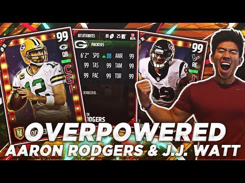 OVERPOWERED 99 OVR AARON RODGERS & JJ WATT! MADDEN 17 ULTIMATE TEAM