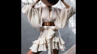 Женское винтажное платье twotwinstyle белое с оборками круглым вырезом длинными рукавами