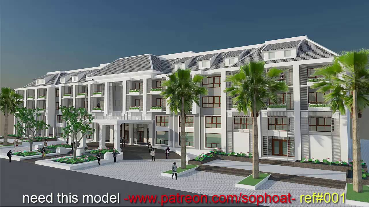 Sketchup 3d model 4 stories hotel exterior design idea for Hotel exterior design