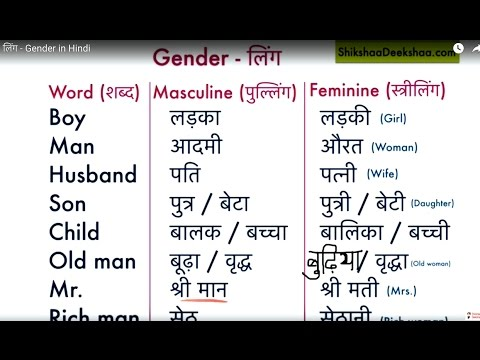 Learn hindi lesson 45 - लिंग ( Gender )