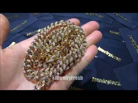 Jewelry Fresh 10mm Gold Miami Cuban Chain Bust Down Lab Diamonds